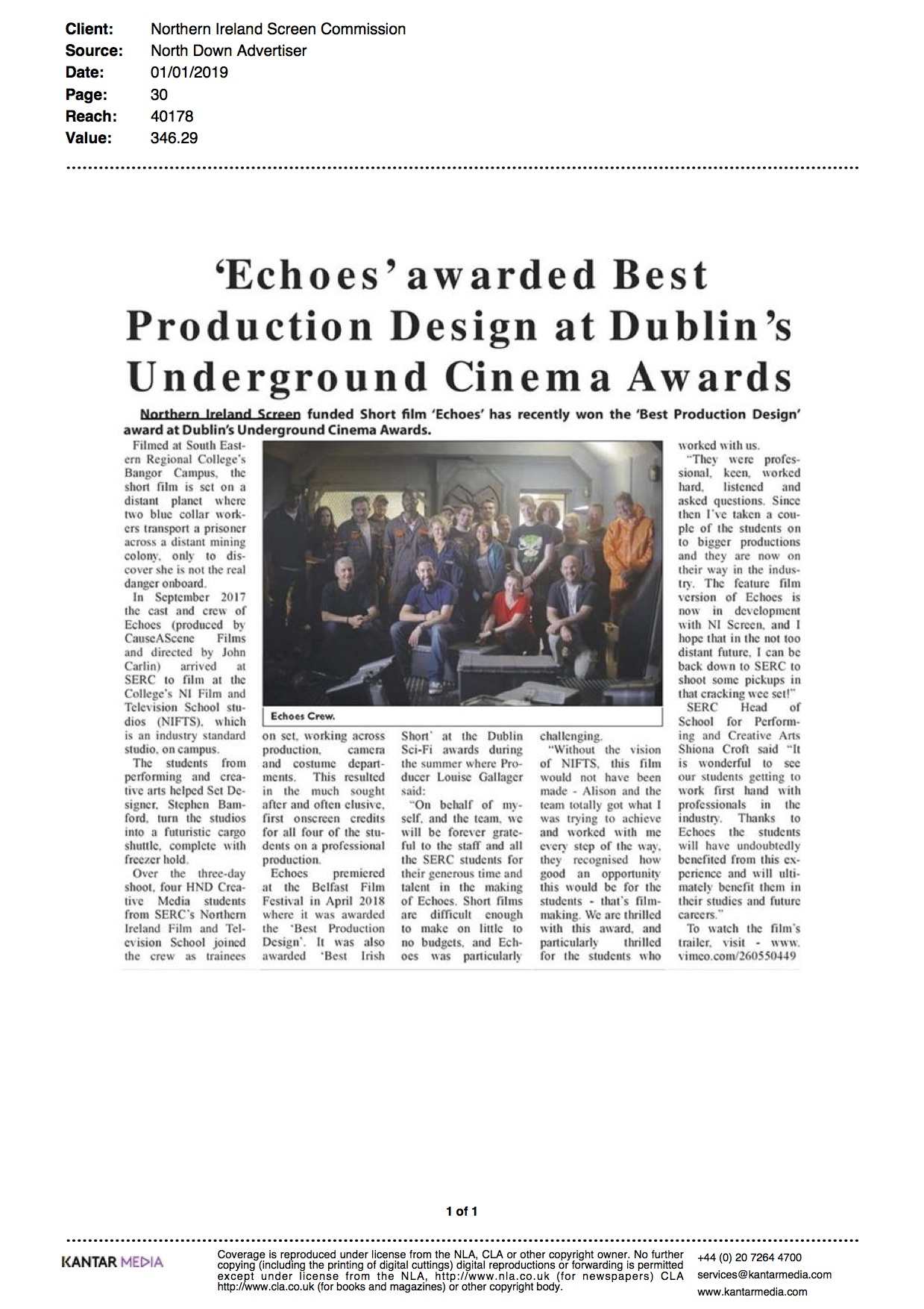 Award For Echoes Film