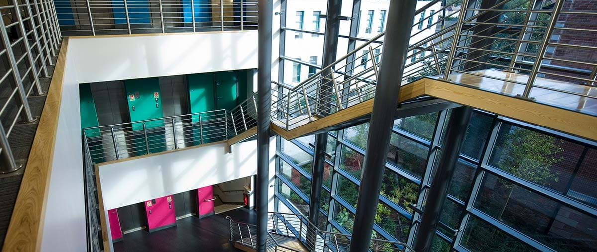 Photograph showing the stair well of Lisburn campus