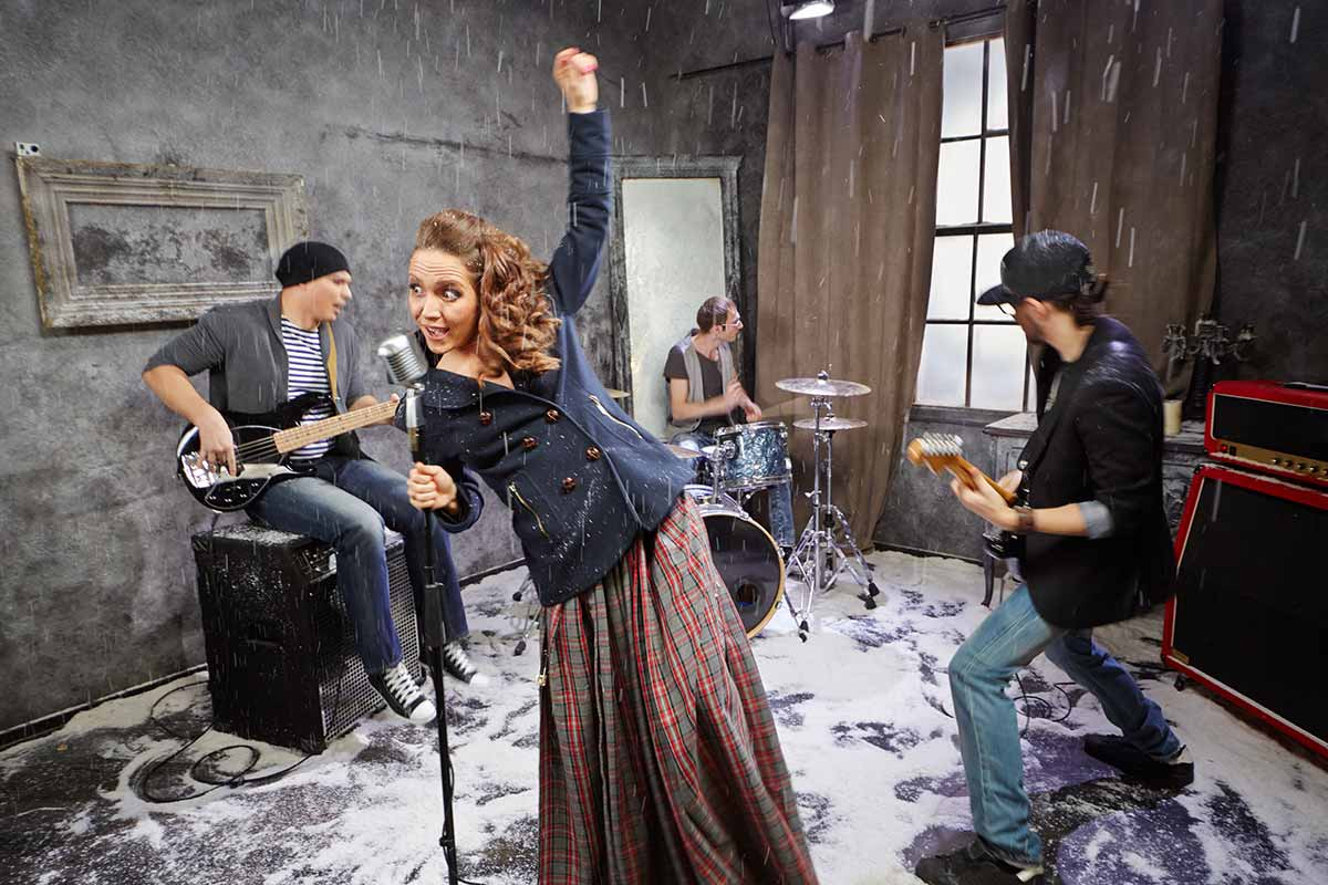 Photograph showing students performing in a music video